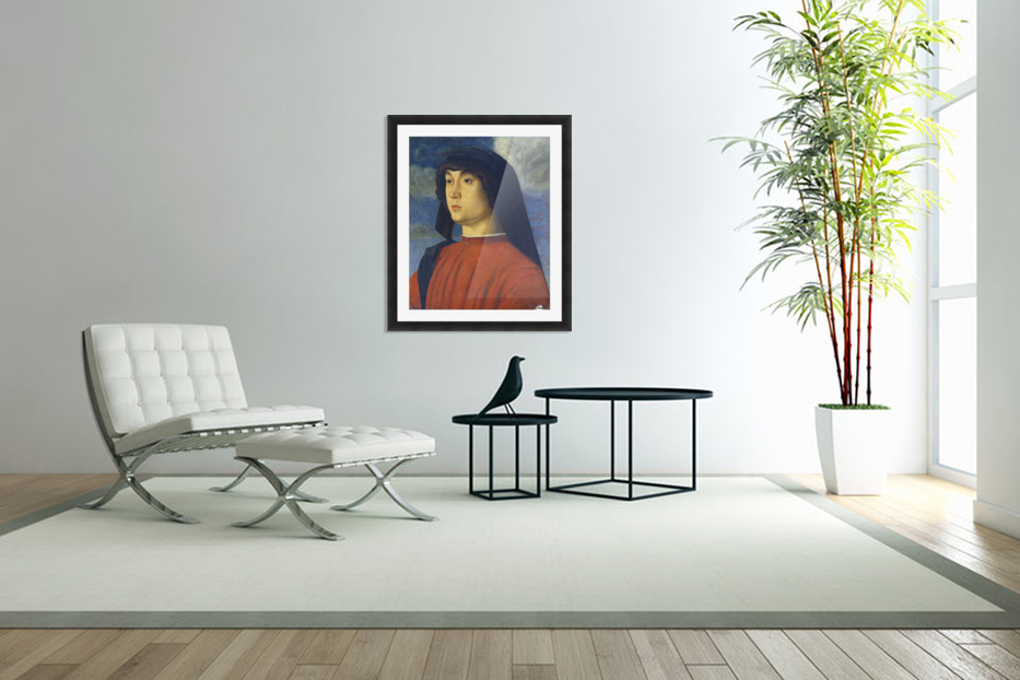 Giovanni Bellini Portrait Young Man Red in Custom Picture Frame