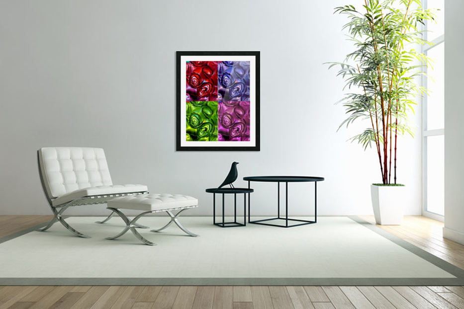 PSYCHEDELIC ROSES  in Custom Picture Frame