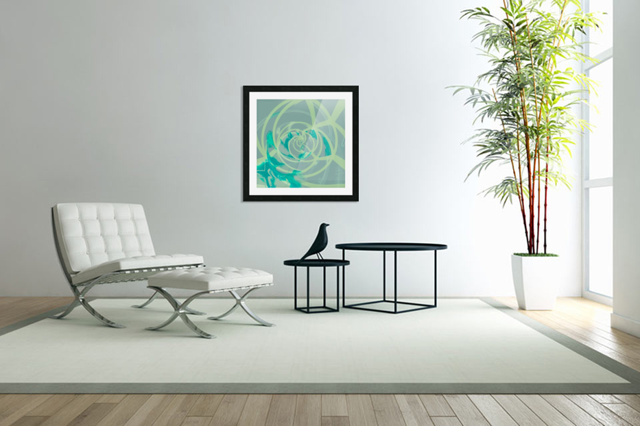 spiral line pattern painting texture abstract in blue green in Custom Picture Frame