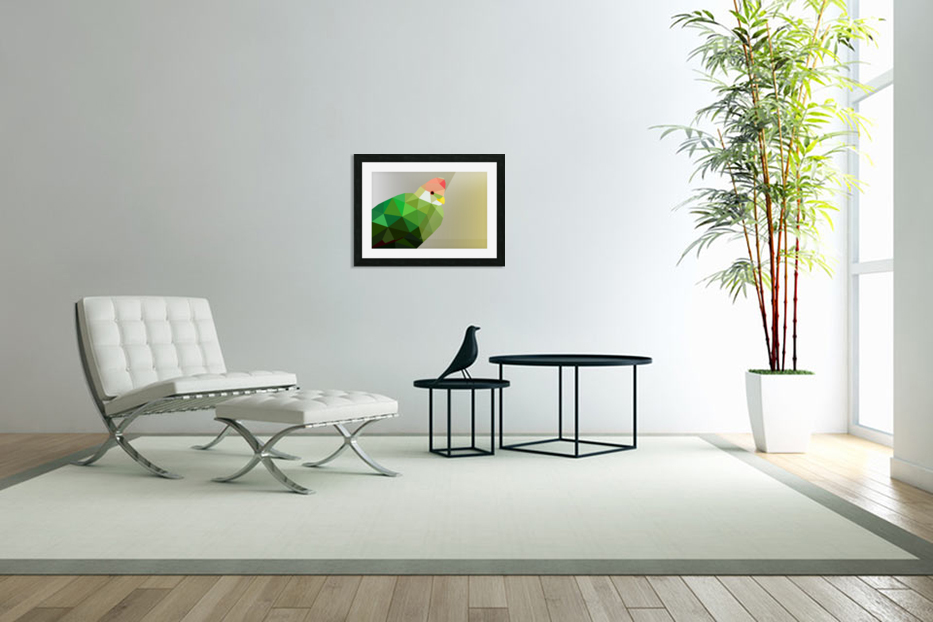 RED CRESTED TURACO LOW POLY ART in Custom Picture Frame