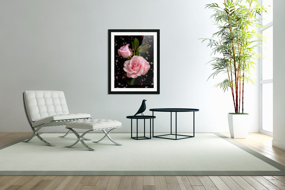 Pink Roses in Custom Picture Frame