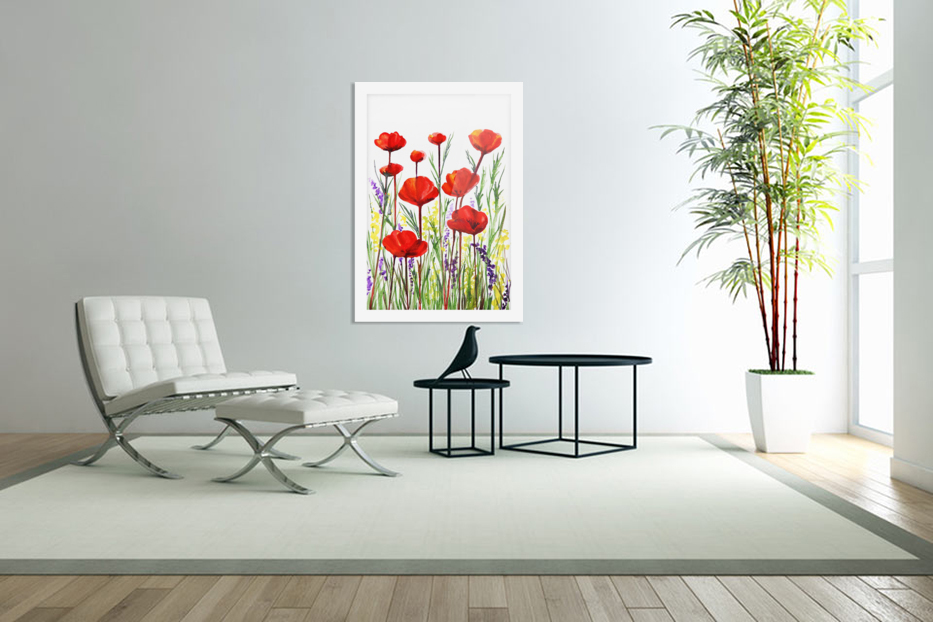 Red Poppies And Lavender Field Watercolor in Custom Picture Frame