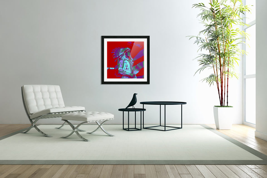 Indian Chief Pop Art in Custom Picture Frame