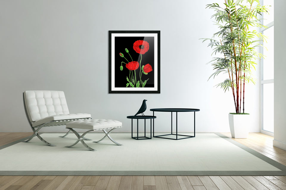 Red Poppy Flowers Watercolor in Custom Picture Frame