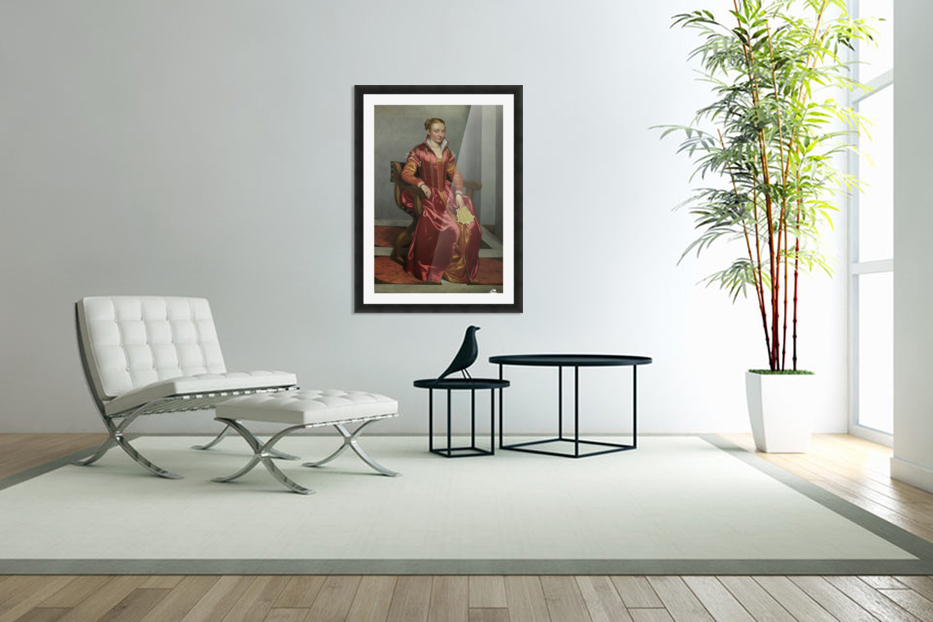 Portrait of a Lady ('La Dama in Rosso') in Custom Picture Frame