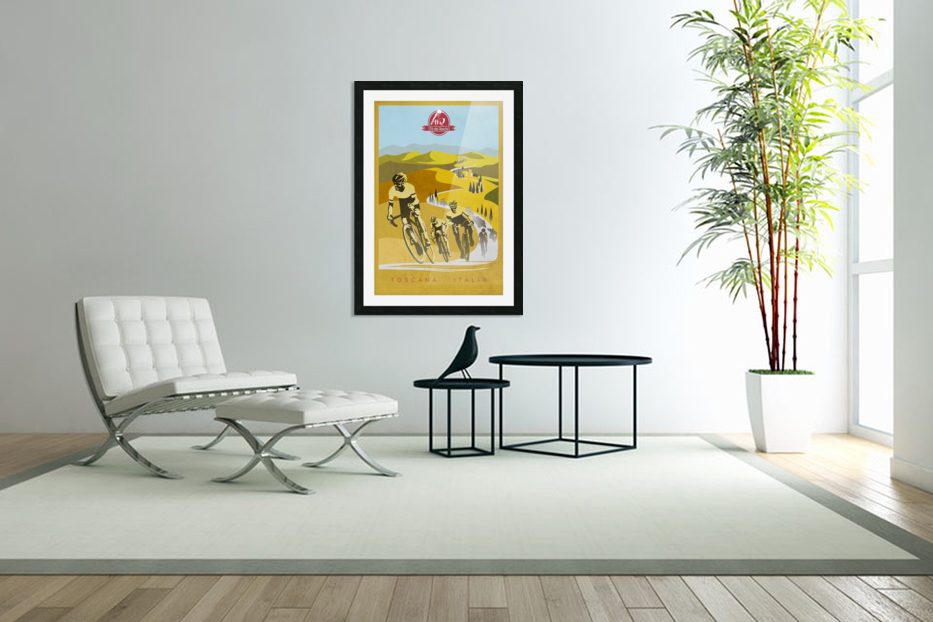 retro Strade Bianche cycling poster in Custom Picture Frame
