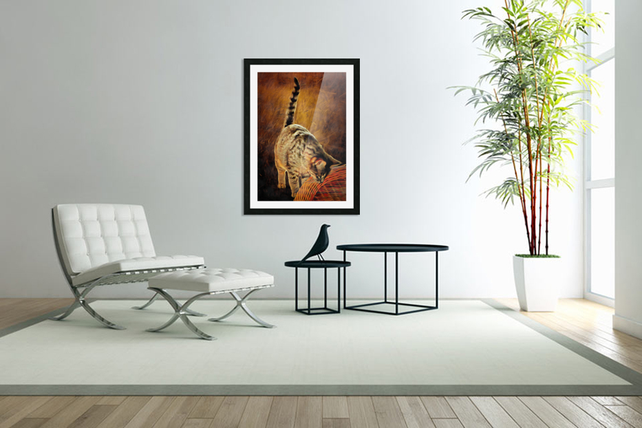 Curiosity And The Cat in Custom Picture Frame