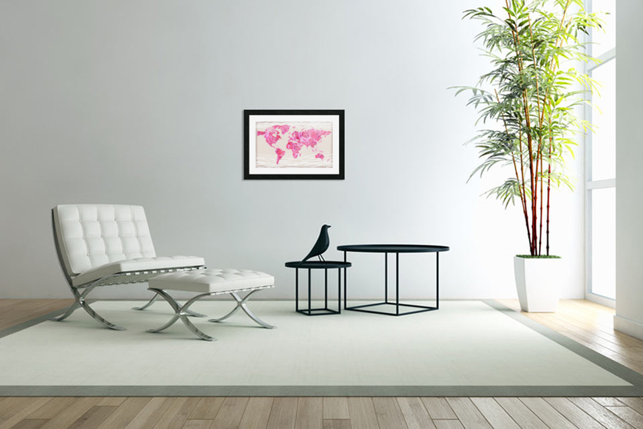 Pink Rose Petals Watercolor Map Of The World in Custom Picture Frame