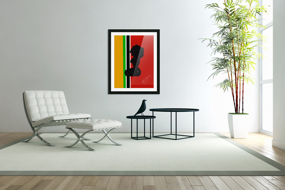 Afrocentric Woman Silhouette- African Flag in Custom Picture Frame