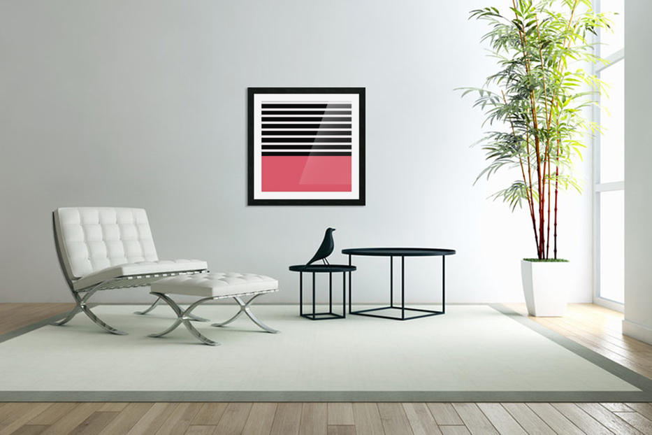 Black & White Stripes with Bitter Sweet Patch in Custom Picture Frame