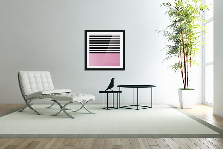 Black & White Stripes with Baby Pink Patch in Custom Picture Frame