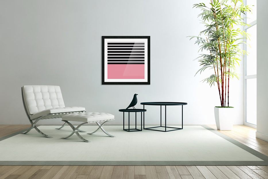 Black & White Stripes with Cherry Patch in Custom Picture Frame