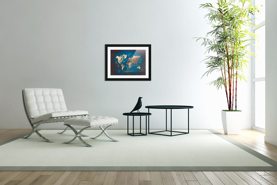 world map text blue gold in Custom Picture Frame