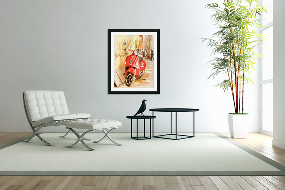 The Red Vespa in Custom Picture Frame