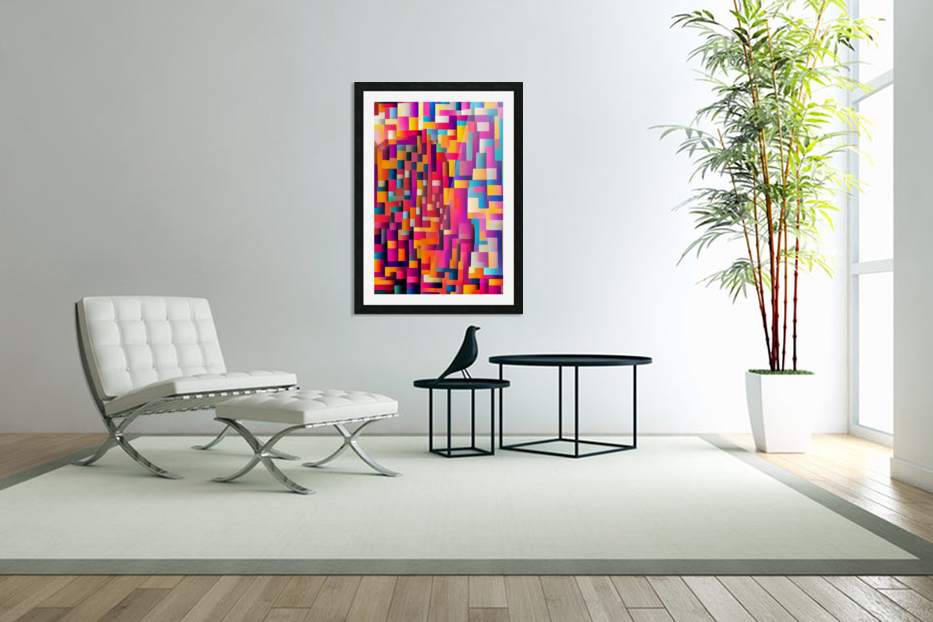 Geometric Abstract Painting in Custom Picture Frame