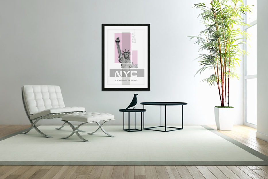 Poster Art NYC Statue of Liberty | light pink in Custom Picture Frame