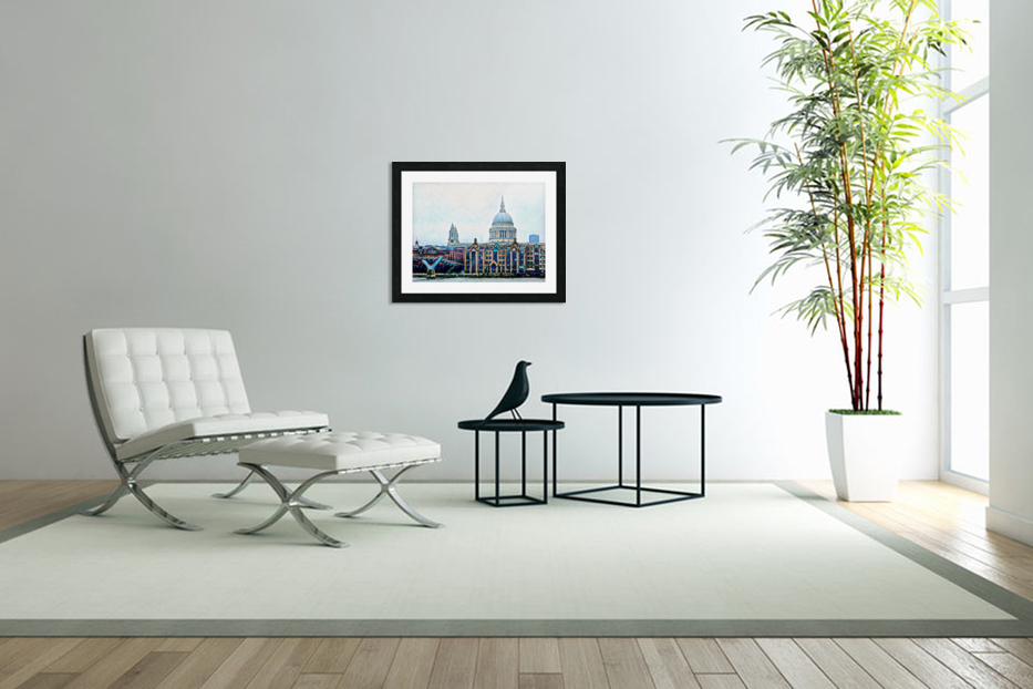 Millennium Bridge to St Pauls Cathedral London in Custom Picture Frame