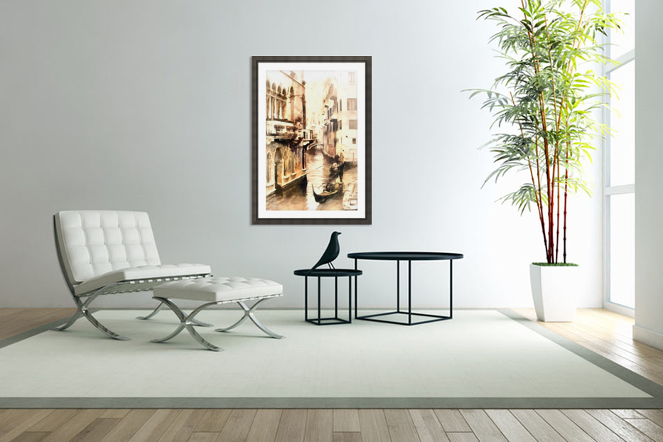 Gondoliers in Venice Vintage in Custom Picture Frame