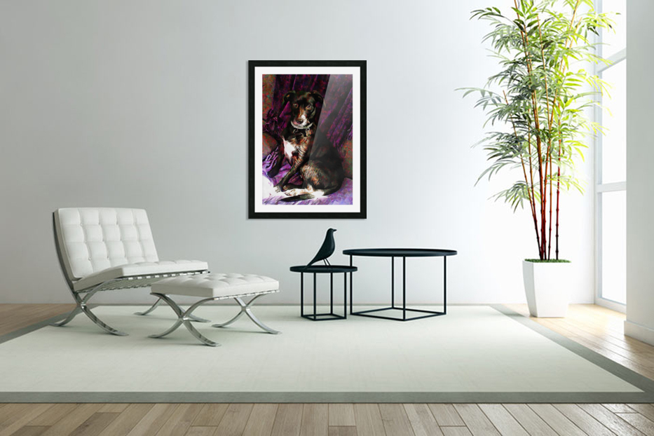 Purple Posing Puppy in Custom Picture Frame