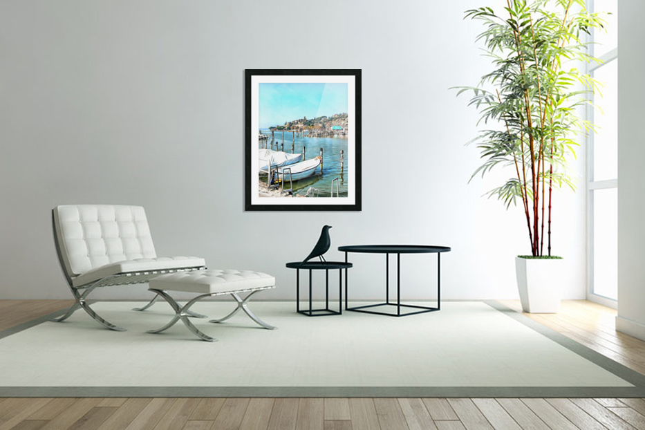 Moored Boats at Passignano in Custom Picture Frame