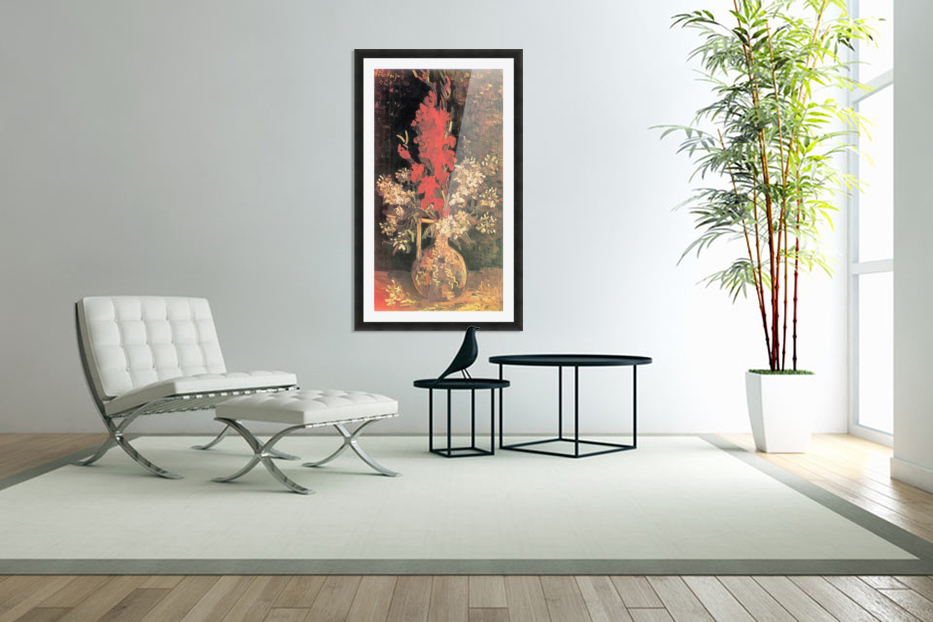 Vase with Gladiolas and Carnations by Van Gogh in Custom Picture Frame