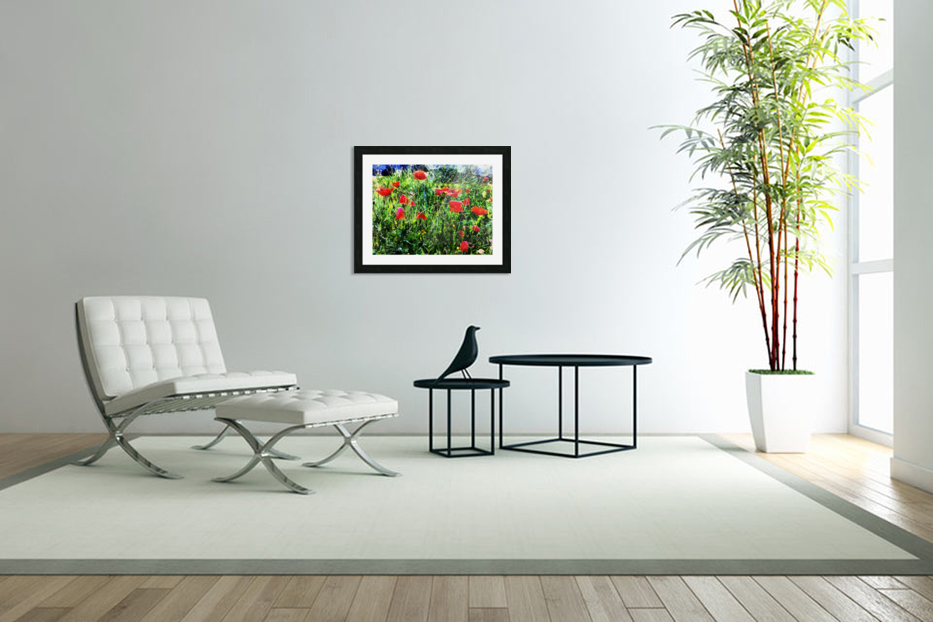 Green Pasture With Red Poppies in Custom Picture Frame