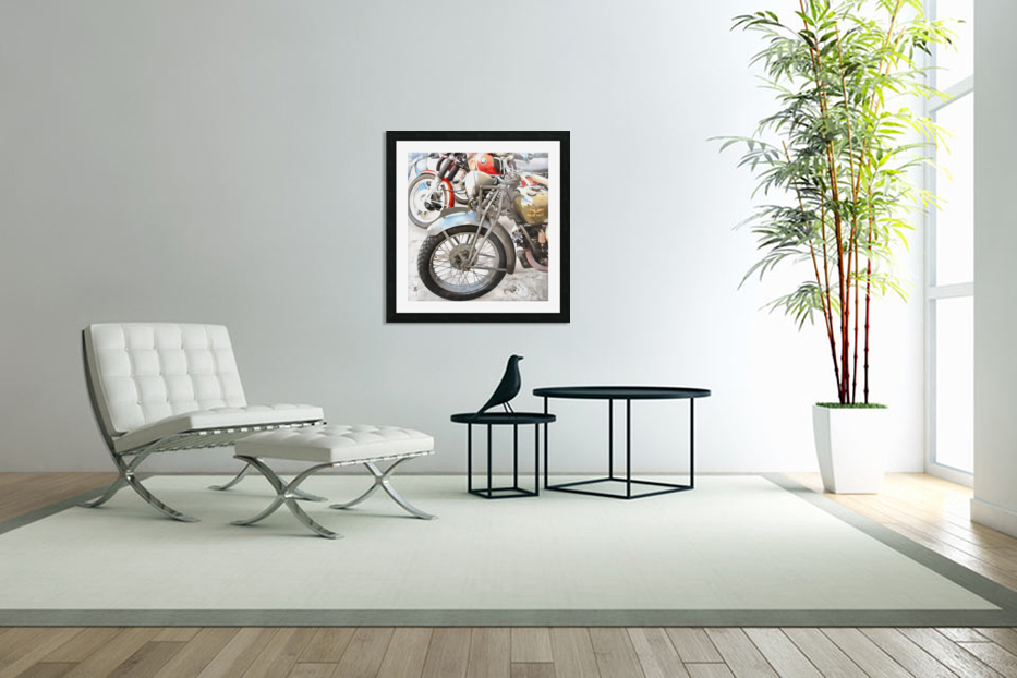 Moto Guzzi and BMW Front Wheels in Custom Picture Frame