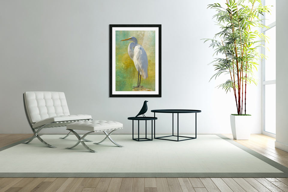 Tropical Egret in Custom Picture Frame
