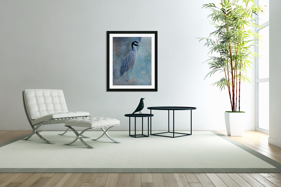 Night Heron Blues in Custom Picture Frame