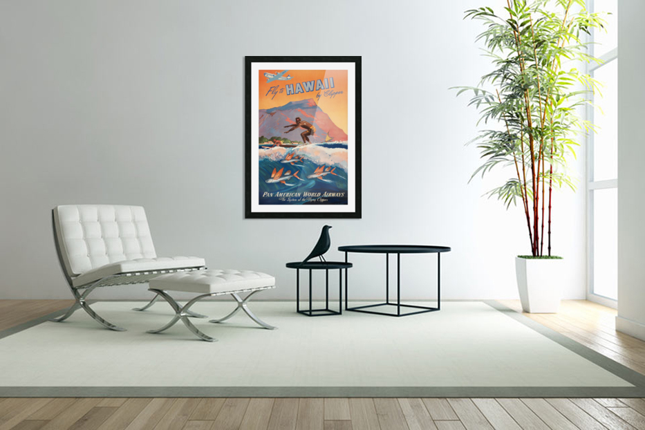 HAWAII TRAVEL POSTER in Custom Picture Frame