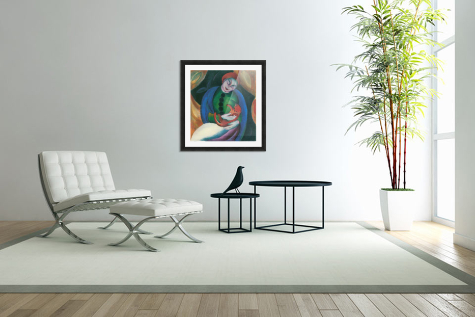 Girl with a Cat II by Franz Marc in Custom Picture Frame