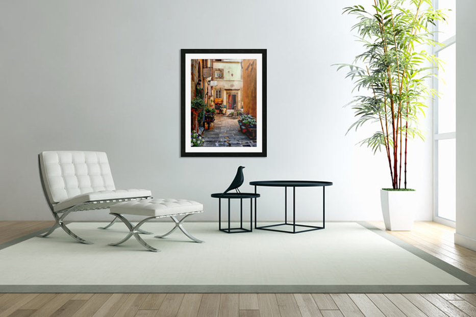 Floral Courtyard Cortona Tuscany in Custom Picture Frame