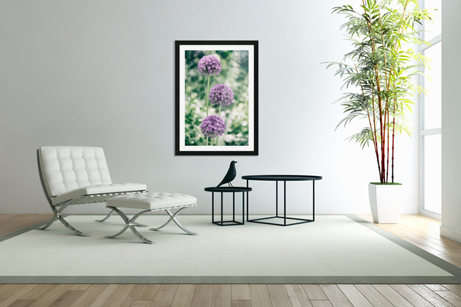 Three Purple Flowers in Custom Picture Frame