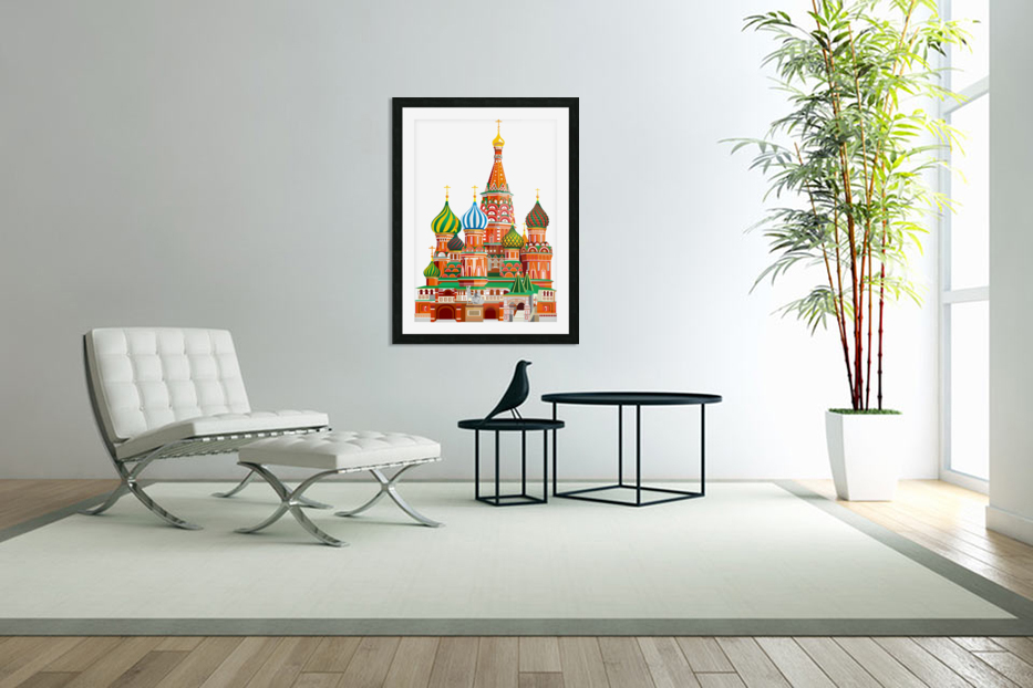 moscow kremlin saint basils cathedral red square l vector illustration moscow building in Custom Picture Frame