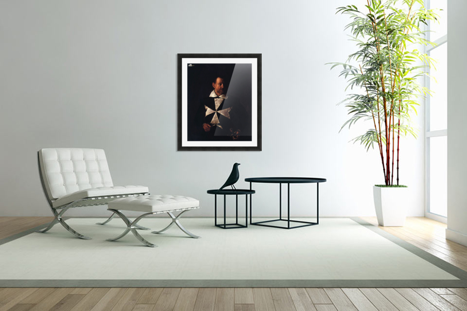Portrait of a Maltese Knight in Custom Picture Frame