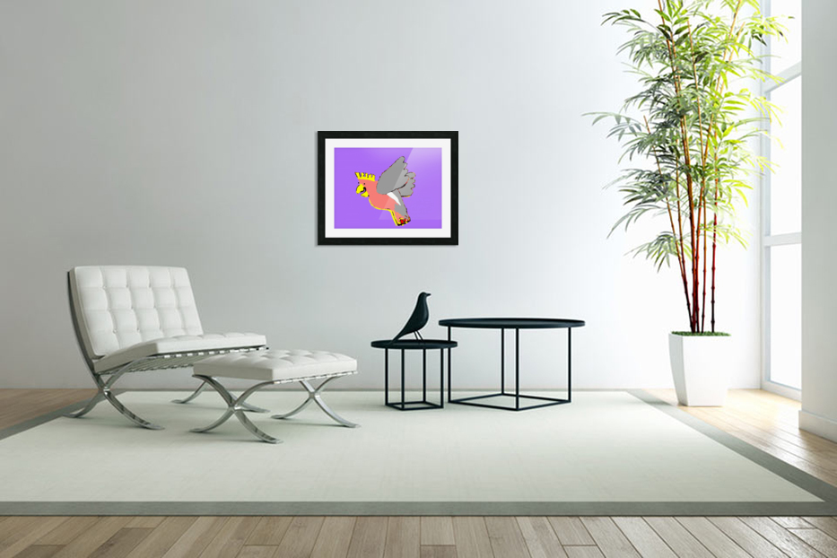 Laughing Galah - Purple in Custom Picture Frame