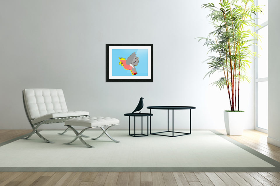 Laughing Galah - Blue in Custom Picture Frame