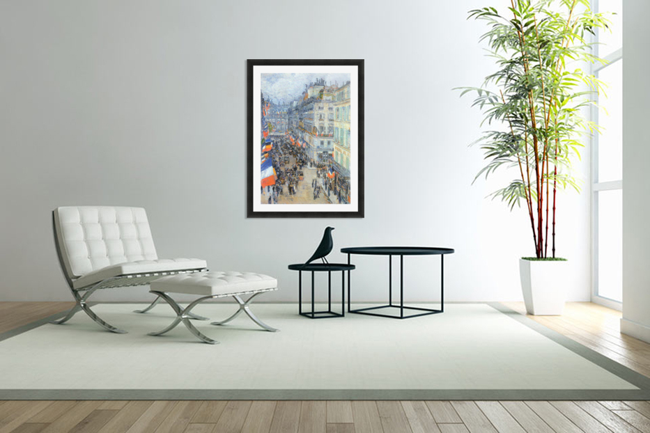 The 14th July, Rue Daunou by Hassam in Custom Picture Frame