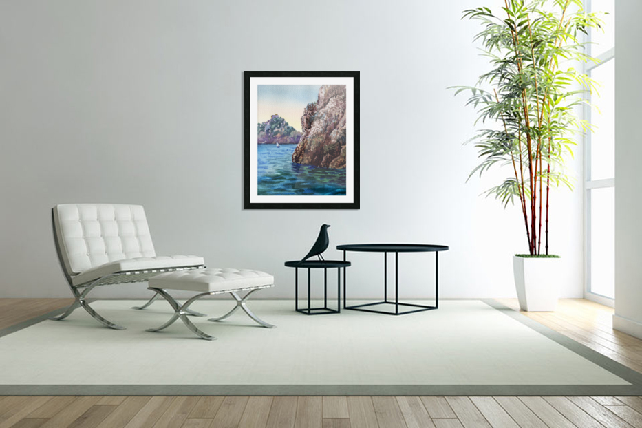 Seascape Harbor Rocky Shore Watercolor Painting in Custom Picture Frame