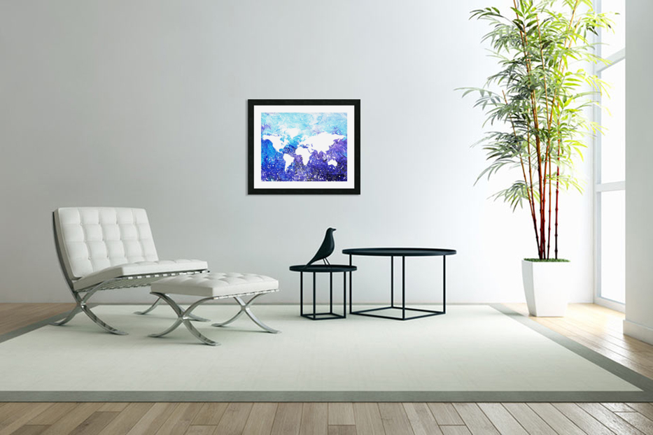 Watercolor Silhouette World Map Global Cooling  in Custom Picture Frame