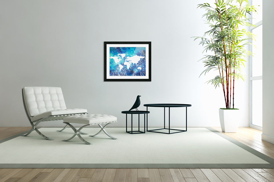 White And Teal Watercolor Silhouette World Map  in Custom Picture Frame