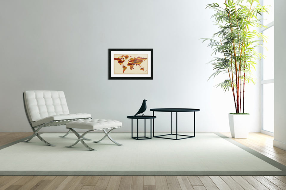 Watercolor Silhouette World Map Terra Lines in Custom Picture Frame