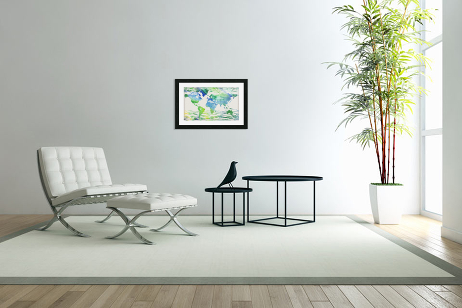 Watercolor Silhouette World Map Blue Green Wave  in Custom Picture Frame