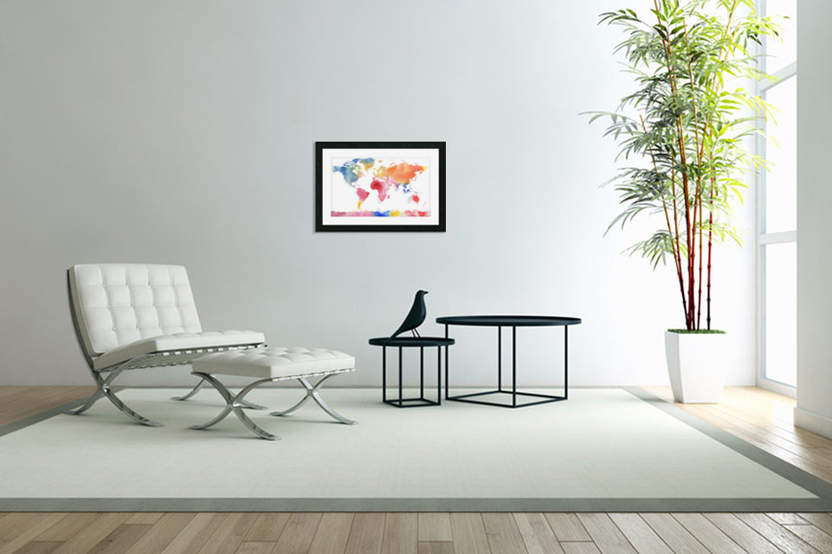 Watercolor Silhouette World Map Rainbow Sea in Custom Picture Frame