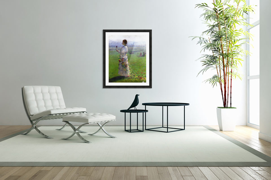 Young Woman Walking by the Field in Custom Picture Frame