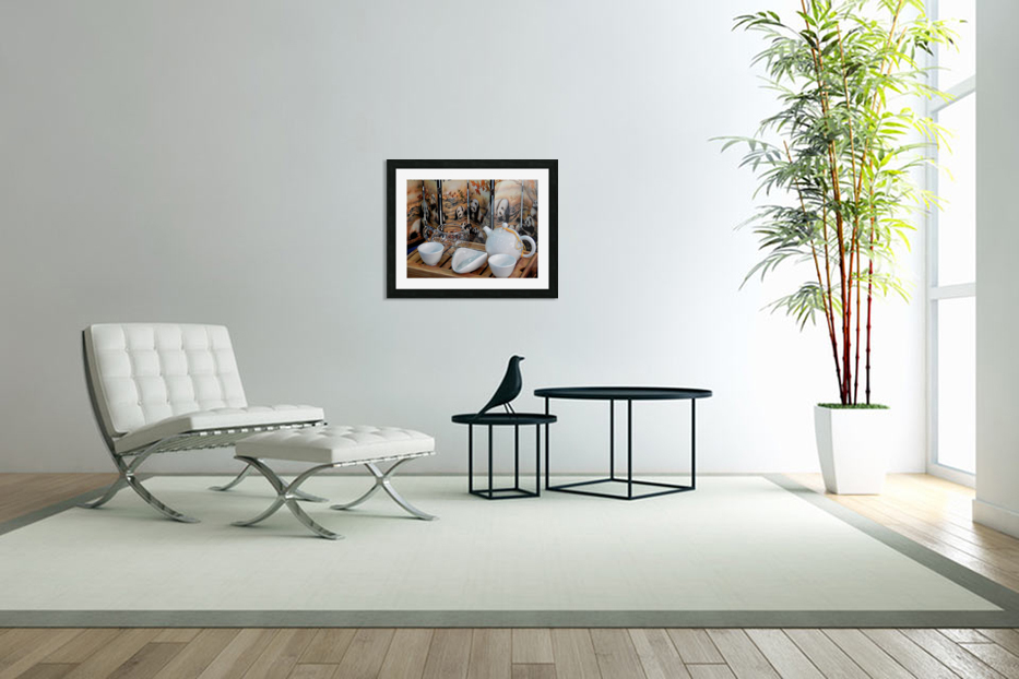 Chinese Tea Ceremony Set With Pandas in Custom Picture Frame