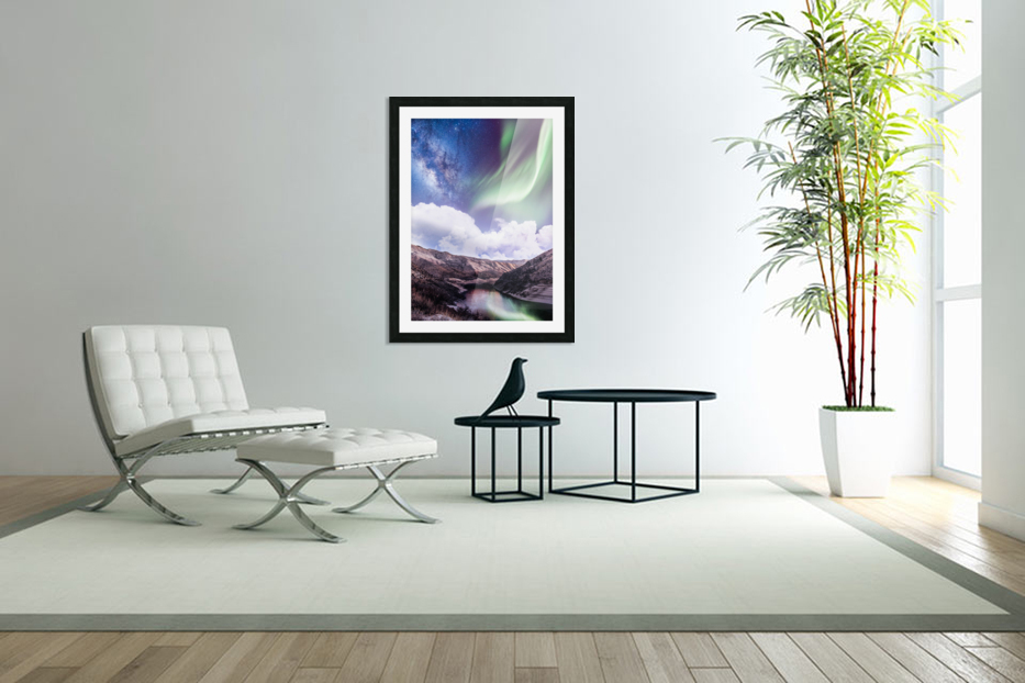 Aurora Borealis And Milky Way in Custom Picture Frame