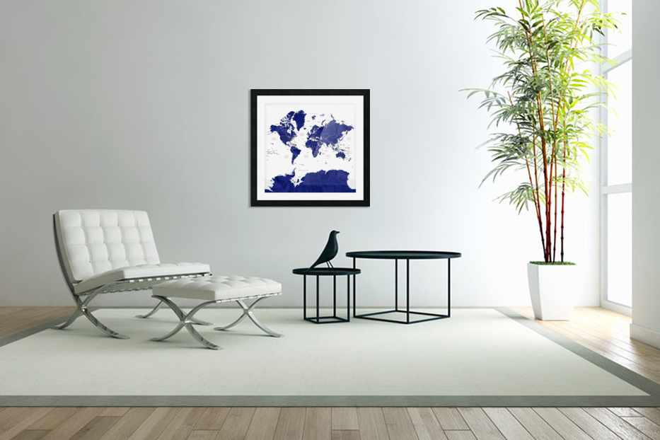 Navy blue watercolor world map with countries and states labelled in Custom Picture Frame