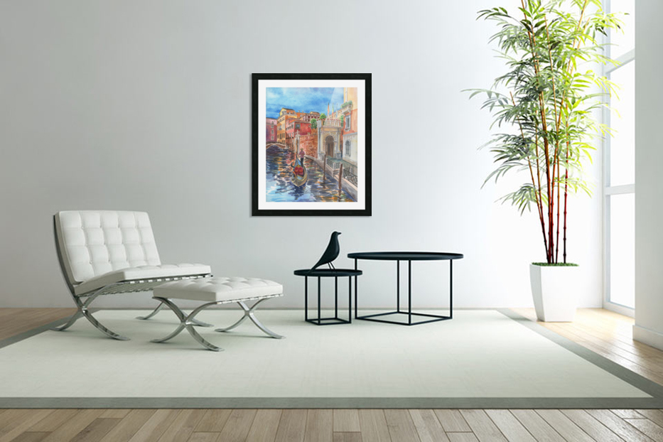 Venice Canal And Gondolier Italian City Landscape  in Custom Picture Frame