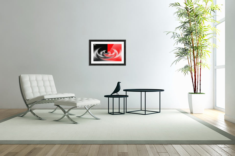 Black White Red Abstraction in Custom Picture Frame